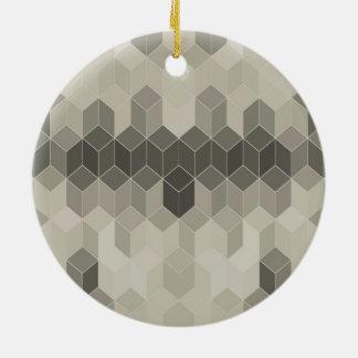 Ornamento De Cerâmica Design geométrico do cubo da escala cinzenta
