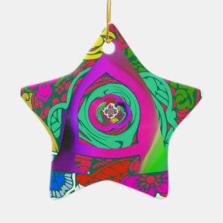 Ornamento De Cerâmica Design Monogrammed floral colorido bonito do