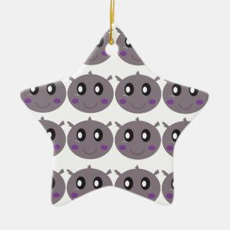 Ornamento De Cerâmica Design pequeno bonito dos hipopótamos