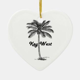 Ornamento De Cerâmica Design preto e branco de Key West Florida & da