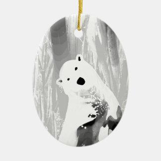 Ornamento De Cerâmica Design preto e branco original do urso polar