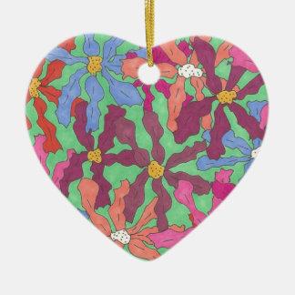 Ornamento De Cerâmica Design retro de Boho do teste padrão de flor