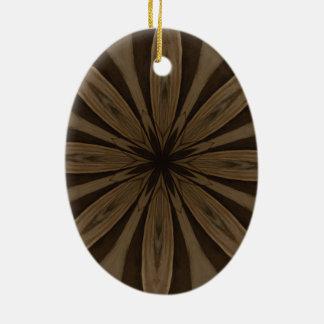Ornamento De Cerâmica Design rústico do caleidoscópio da flor de Brown