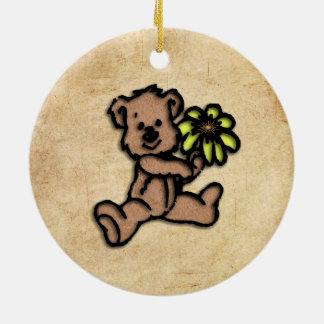 Ornamento De Cerâmica Design rústico do urso da margarida