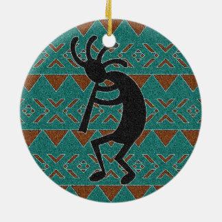 Ornamento De Cerâmica Design tribal de Kokopelli de turquesa do sudoeste