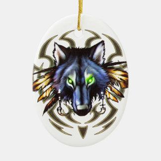 Ornamento De Cerâmica Design tribal do tatuagem do lobo
