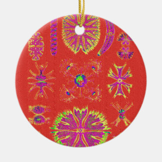 Ornamento De Cerâmica Desmidiea na laranja queimada