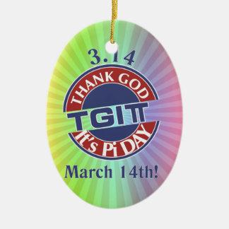 Ornamento De Cerâmica Deus do obrigado de TGIPi seu dia logotipo
