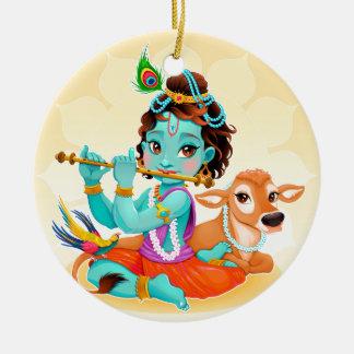 Ornamento De Cerâmica Deus indiano de Krishna que joga a ilustração da