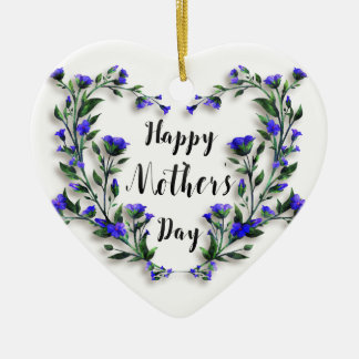 Ornamento De Cerâmica Dia das mães - coração floral bonito