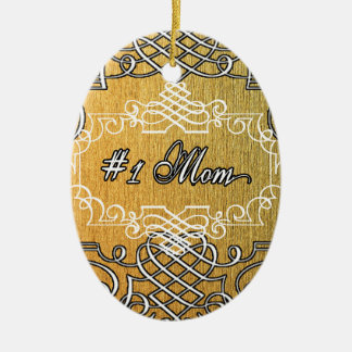 Ornamento De Cerâmica dia das mães dourado da tipografia da mamã #1