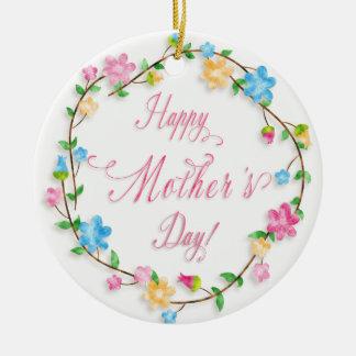 Ornamento De Cerâmica Dia das mães - grinalda floral WA do primavera