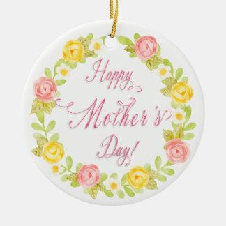 Ornamento De Cerâmica Dia das mães - os rosas bonito da aguarela