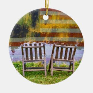 Ornamento De Cerâmica Dia de América que sonha para dois