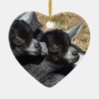Ornamento De Cerâmica Dia dos namorados dado forma coração das cabras do