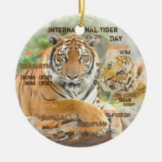 Ornamento De Cerâmica Dia internacional do tigre, o 29 de julho, arte da