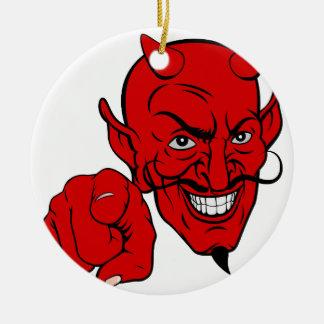 Ornamento De Cerâmica Diabo que aponta o personagem de desenho animado