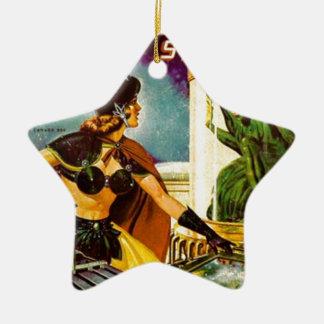 Ornamento De Cerâmica Diabrete atrás do vidro