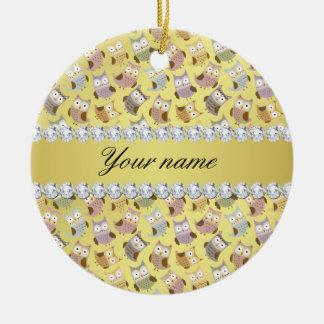 Ornamento De Cerâmica Diamantes chiques de Bling da folha de ouro do