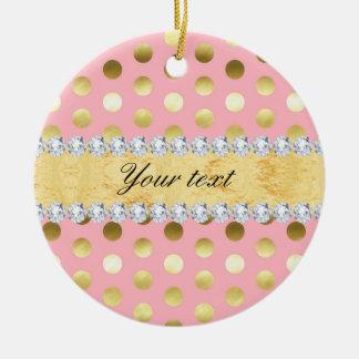 Ornamento De Cerâmica Diamantes cor-de-rosa das bolinhas da folha de