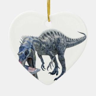Ornamento De Cerâmica Dinossauro de Suchomimus que come um tubarão