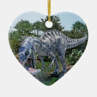 Ornamento De Cerâmica Dinossauro de Suchomimus que come um tubarão em um