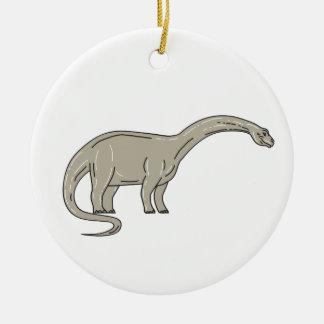 Ornamento De Cerâmica Dinossauro do Brontosaurus que olha abaixo da mono