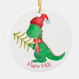 Ornamento De Cerâmica Dinossauro do Natal da aguarela personalizado