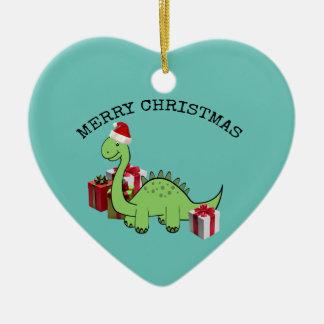 Ornamento De Cerâmica Dinossauro engraçado bonito do papai noel do Natal