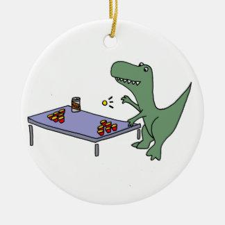 Ornamento De Cerâmica Dinossauro engraçado de T-Rex que joga a cerveja