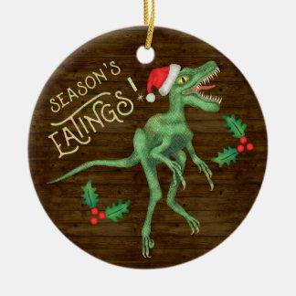 Ornamento De Cerâmica Dinossauro engraçado Eatings do Velociraptor do