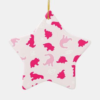 Ornamento De Cerâmica Dinossauros cor-de-rosa bonitos