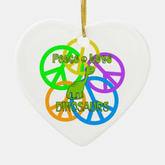 Ornamento De Cerâmica Dinossauros do amor da paz