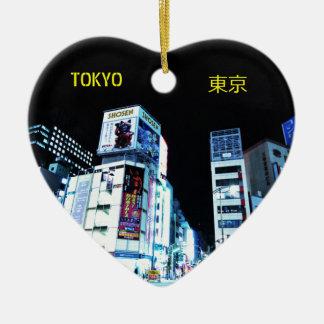 Ornamento De Cerâmica Distrito de Ginza em Tokyo, Japão na noite
