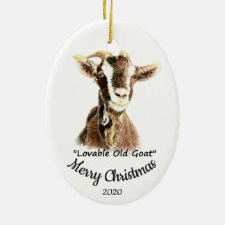 Ornamento De Cerâmica Divertimento velho adorável da cabra do Natal