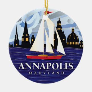 Ornamento De Cerâmica DM vermelha de Annapolis do veleiro litoral