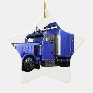 Ornamento De Cerâmica Do azul caminhão metálico do reboque de tractor