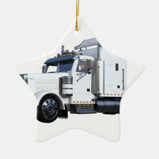 Ornamento De Cerâmica Do branco reboque de tractor semi
