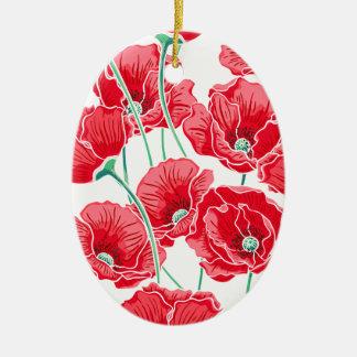 Ornamento De Cerâmica Do campo vermelho da papoila da relembrança teste