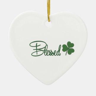 Ornamento De Cerâmica ☘ do design do dia de St Patrick abençoado