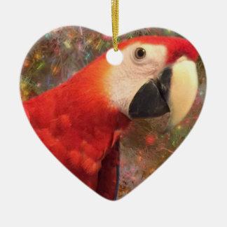 Ornamento De Cerâmica Do Macaw do papagaio escarlate vermelho dos