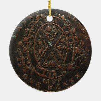 """Ornamento De Cerâmica Do """"moeda de um centavo 1837 do banco de Concordia"""