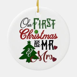 """Ornamento De Cerâmica Do """"ORNAMENTO da FOTO nosso primeiro Natal"""""""