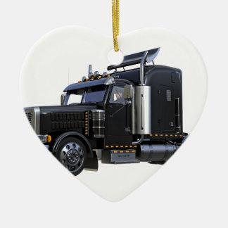 Ornamento De Cerâmica Do preto caminhão do reboque de tractor semi