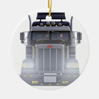 Ornamento De Cerâmica Do preto caminhão do reboque de tractor semi com