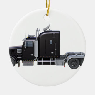 Ornamento De Cerâmica Do preto reboque de tractor semi no perfil lateral