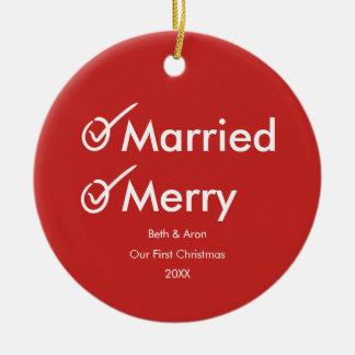 Ornamento De Cerâmica Do primeiro Natal foto espirituoso casado e da