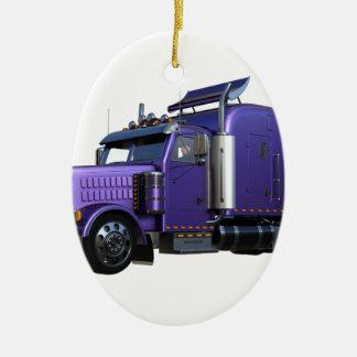 Ornamento De Cerâmica Do roxo caminhão metálico do reboque de tractor