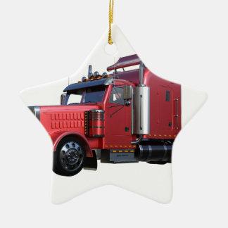 Ornamento De Cerâmica Do vermelho caminhão metálico de Traler do trator