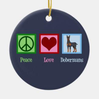 Ornamento De Cerâmica Dobermans do amor da paz